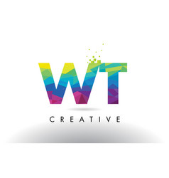 wt w t colorful letter origami triangles design vector image