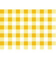 Yellow and white gingham tablecloth seamless patte vector