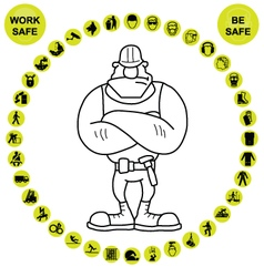 Yellow circular Health and Safety Icon collection vector image
