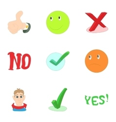 Yes no button icons set cartoon style vector