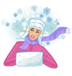 Young woman in fur cap with earflaps enjoys snowfa vector