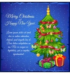 Christmas tree with gifts and sample text vector image