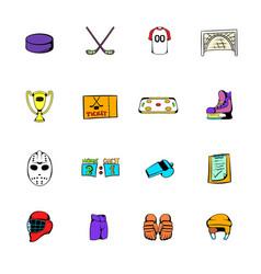 hockey icons set cartoon vector image vector image
