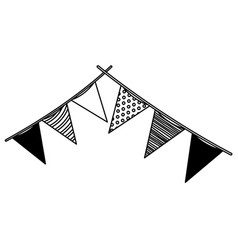 monochrome silhouette of decorative pair of flags vector image