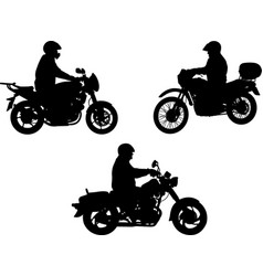 motorcyclists silhouette vector image vector image