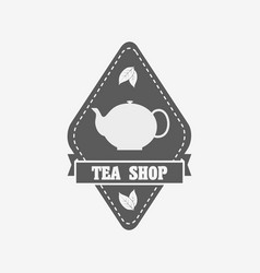 tea shop badge label or logo design template with vector image vector image