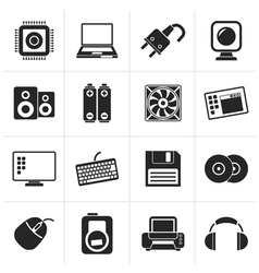 Black Computer Items and Accessories icons vector image vector image