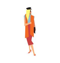 Elegant fashion girl in long skirt and blouse vector