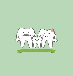 healthy teeth family smile and happy vector image
