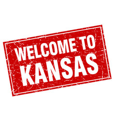 kansas red square grunge welcome to stamp vector image