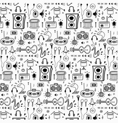 pattern with hand drawn doodle music background vector image