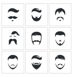 Retro Mens Hair Styles icon set vector image vector image