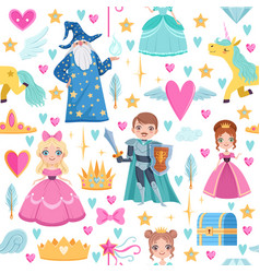 seamless pattern with different magic elements vector image