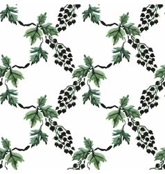 Seamless watercolor pattern with leafs and berries vector image