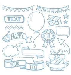 Set of ribbons and elements for party invitation vector