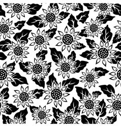 sunflower flower black isolated seamless vector image vector image