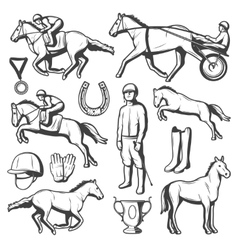 Vintage Equestrian Sport Elements Collection vector image vector image