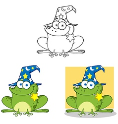 Wizard Frog With A Magic Wand Collection vector image vector image