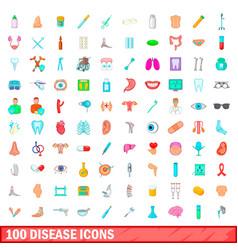 100 disease icons set cartoon style vector image