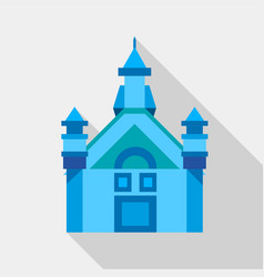 Blue castle icon flat style vector