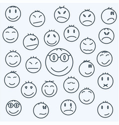 cartoon emotional faces set comics expressed vector image