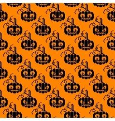 Halloween glyph pattern with pumpkins vector image