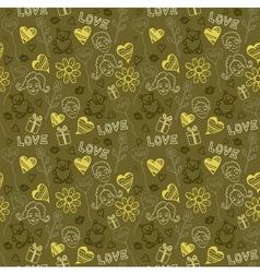 Love Doodle Pattern Background vector image vector image