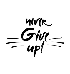 Never give up lettering Hand vector image