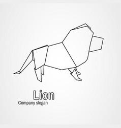 origami logo contour lion vector image vector image