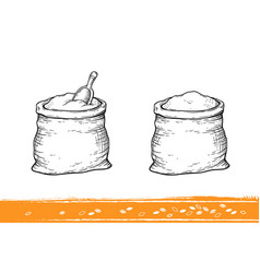 sacks with flour and wheat vector image vector image