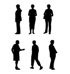silhouettes of elderly people vector image vector image