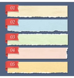 Torn paper numbered banners vector image vector image