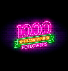 1000 followers realistic neon sign on wall vector