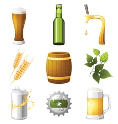 9 highly detailed beer icons vector
