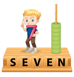 A boy holding number seven vector
