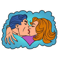 A man and woman passionate kiss vector
