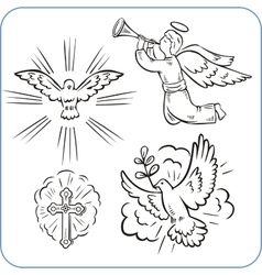 Angels and doves vector