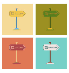 assembly flat icons sign gallery vector image