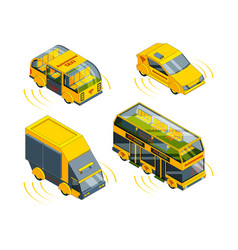 autonomous vehicle unmanned transport at road vector image