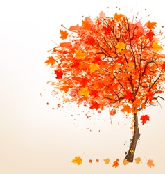 Autumn background with colorful leaves and a tree vector