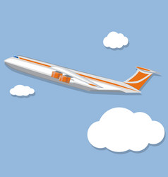 aviation poster with jet airplane in sky vector image