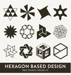 basic design collection hexagon based elements vector image