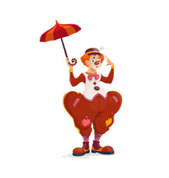 big top circus isolated clown with umbrella vector image