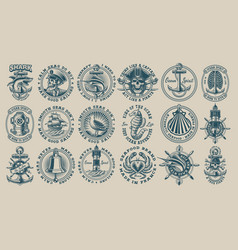 biggest bundle vintage nautical vector image