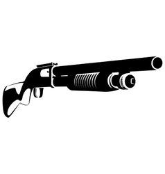 Black and white with a shotgun vector