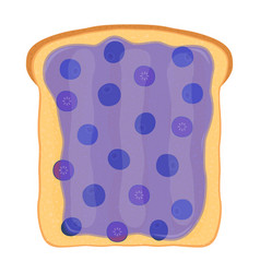 Blueberry jam on toast with jelly flat style vector