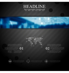 Brochure tech template with blue web header banner vector