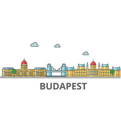 Budapest city skyline buildings streets vector