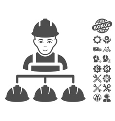 Builder Management Icon With Tools Bonus vector image
