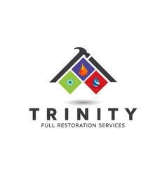Building restoration logo design template vector